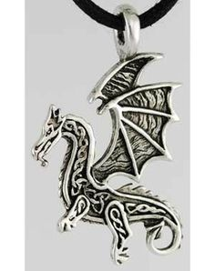 "Representing the raw, elemental power of nature dragons are frequently revered within Celtic myth as well as other legends throughout the world. This dragon is used to represent this raw power, and aid help focus your energies to aid in drawing upon these raw elements to empower your rituals and spells. This amulet, made of pewter, measures approximately 1 1/4"" in long and 1 1/4"" wide. $7.95"