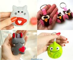 Keyrings made of felt Diy Keychain, Leather Keychain, Bead Crafts, Diy And Crafts, Sewing Projects, Diy Projects, Leather Pieces, Handmade Felt