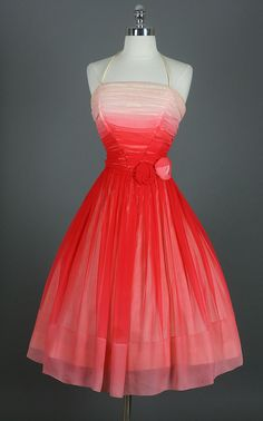 "Vintage 50s Ruched Ombre Silk Chiffon Cocktail Party Dress--   Lucy says, ""This would be such a cool ombre  dye idea! may try this if I ever need a cute dress for some occasion."""