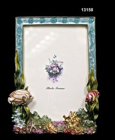Frame/Coral ReefBrass/Pewter  Glass Enameled  Swarovski Crystals/Austrian Crystals  Handmade in Asia $33