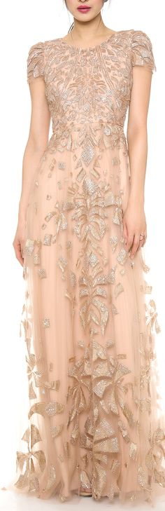 Monique Lhuillier Cap Sleeve Gown