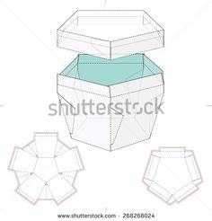 Pentagonal Box with Lid and Die Cut Template - stock vector Diy Craft Projects, Diy And Crafts, Paper Crafts, Diy Gift Box, Diy Box, Dragonfly Drawing, Paw Patrol Decorations, Origami Paper Art, Flower Packaging