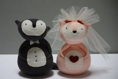 Bride and Groom Wedding Day Foxes by Sewinthemoment perfect as a wedding gift Charcoal, apricot, red, white and black