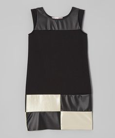 Take a look at this Black & White Checkerboard Faux Leather Dress by Blush on #zulily today!