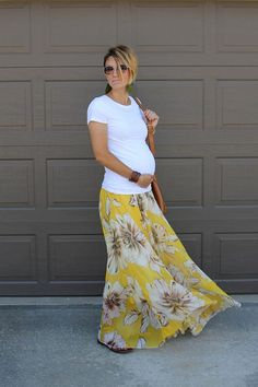 White Tee and Maxi Skirt Maternity Style
