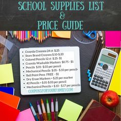 Use this Price Guide for your School Supplies List!! Back To School Deals, Back To School Hacks, Back 2 School, Back To School Supplies, Back To School Activities, Fun Activities, College Dorm Checklist, Back To School Bulletin Boards, Back To School Backpacks