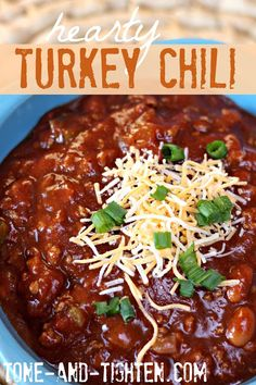 Hearty and Healthy Turkey Chili (my husband didn't even realize that I used ground turkey instead of beef!)
