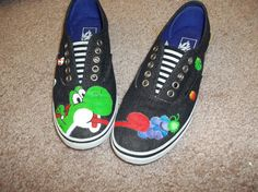 Yoshi Custom Painted Shoes by The Gamers Gear