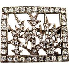 Vintage MMA / FBS 925 Sterling Silver Crystal Brooch Pin Metropolitan Museum of Art