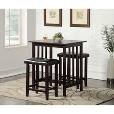 3 Piece Counter Height Dining Set with Saddleback Stools | Overstock.com Shopping - The Best Deals on Pub Sets