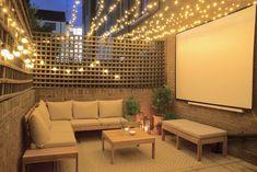 Patio Garden Makeover + Home Cinema Reveal Small Courtyard Gardens, Small Courtyards, Outdoor Spaces, Outdoor Living, Ikea Outdoor, Terrace Decor, Outdoor Cinema, Garden Makeover, Backyard Patio Designs