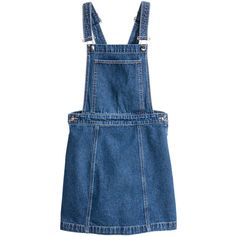 Denim Bib Overall Dress $34.99 ($35) ❤ liked on Polyvore featuring dresses, denim dress, blue denim dress, knee high dresses, dark denim dress and blue button dress