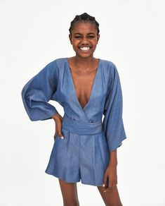 Image 2 of JUMPSUIT WITH KIMONO SLEEVES from Zara