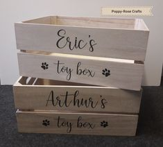 Toy boxes for your dog. Personalised wooden crate. Available from Poppy-Rose Crafts on Facebook 😊