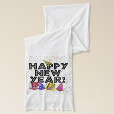 Happy New Year - Black Text with Party Hats Scarf #newyear #accessories