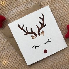 item is not available - Hand Painted Card Xmas Cards Christmas Card Reindeer Christmas Cards Drawing, Christmas Card Crafts, Christmas Tree Cards, Christmas Art, Christmas Decorations, Simple Christmas, Rudolph Christmas, Handmade Christmas, Christmas Card Template