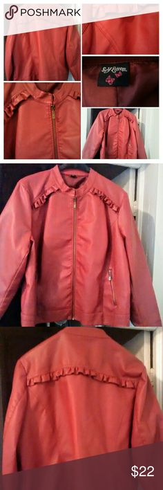 Coral Faux Leather Jacket 3X Womens RePosh, I've never worn, but it looks brand new. Faux leather, lined, cute ruffle detail on front and upper back. Zip front. Size women's Plus 3 X. True to size. Kind of a coral/ rust color. No flaws!! Self Esteem Jackets & Coats