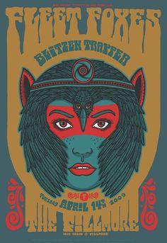 Fleet Foxes / Blitzen Trapper poster by Matt Leunig