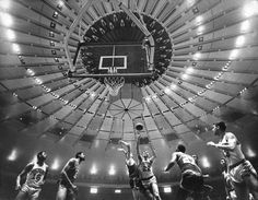 "Feb. 15, 1968: At a new Madison Square Garden over Penn Station, Dave DeBusschere of the Detroit Pistons scored the first points of a game against the Boston Celtics, who won, 118-96. It was not without growing pains — a late start and technical problems plagued enjoyment of the opening doubleheader. So did the pricey tickets: ""It's $3 here, compared to $2.50"" at the old stadium, grumbled one game-goer. Photo: Larry Morris/The New York Times"