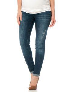 Motherhood Maternity Indigo Blue Secret Fit Belly(r) Destructed Straight Leg Maternity Jeans