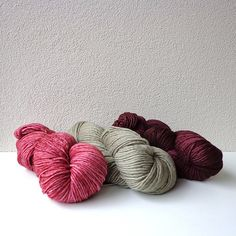 | malabrigo Worsted in Damask Rose, Chapel Stone and Red Mahogany