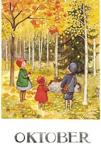 October Leaves by Elsa Beskow. love any books (or print) by Elsa Beskow Elsa Beskow, Images Vintage, Vintage Art, Art And Illustration, Illustration Children, Book Illustrations, Autumn Art, Autumn Leaves, Red Leaves