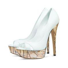 Women's Lillian White Golden Lattice Bridesmaid Platform Peep Toe... ❤ liked on Polyvore featuring shoes, pumps, white stiletto pumps, white wedding shoes, white pumps, peep-toe pumps and white platform pumps