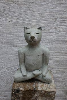 Skulpturen - Yoga- Katze, Gartenskuptur, Katze, Garten - ein Designerstück von…