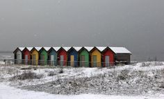 Snow over Blyth Beach Huts Photo - Arts | North East Life