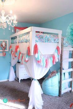 How to Build a Loft Bed for a Girls Bedroom | Jennifer Allwood #kidsbedroomfurniture