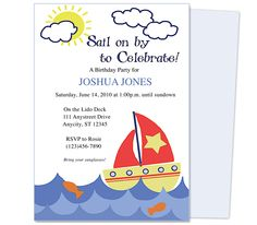 Kids Birthday Party Invitations : Printable Sailboat Kids Birthday Party Invitation Template