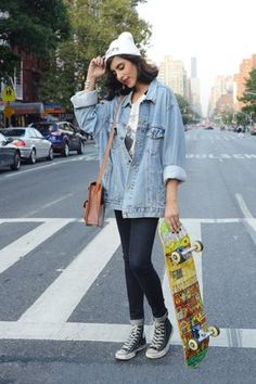 Skater Chic: The Cool Girl Way To Get Around Town #Refinery29