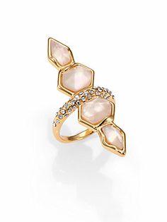 Alexis Bittar Swarovski Crystal & Citrine Ring.