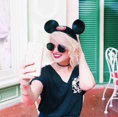 Selfie!! Classic ears + Mickey picket tee // @Abbycorkins
