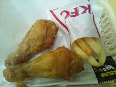 Another shot of KFC. This one is a sampler pack with two different types of chicken.