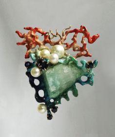 Anatomical Hart Pendant Silver Sculpture 14k Gold von BonTonJoyaux