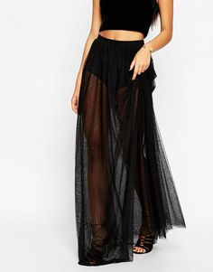 Image 4 of ASOS Sheer Maxi Skirt with Knicker Short