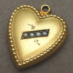 Puffy Heart Charm 10k Yellow Gold and Seed Pearls Beaded Edge