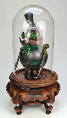 Phineaus Grock steampunk robot sculpture by Doktor A