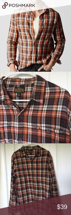 True Religion Men's rust plaid workwear shirt EUC Sz L. Brown, rust orange, and cream plaid shirt. True Religion Shirts Casual Button Down Shirts