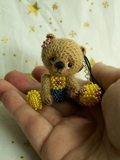 thread bear key chain