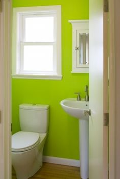 In the process of remodeling my bathroom right now with bright green and white!