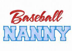 $2.95Baseball Nanny Applique Machine Embroidery Design