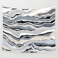 Black and white scandinavian minimal line pattern Wall Tapestry