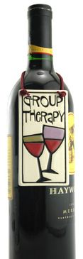group therapy ceramic wine bottle tag artisan made in usa spooner creek cute funny gift for wine lover mom girlfriend wife Wine Bottle Tags, Wine Bottle Covers, Wine Tags, Bottle Art, Bottle Labels, Wine Bottles, Gifts For Wine Lovers, Wine Gifts, Wine Craft