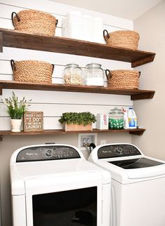 Best 20 Laundry Room Makeovers - Organization and Home Decor Laundry room organization Laundry room decor Small laundry room ideas Farmhouse laundry room Laundry room shelves Laundry closet Kitchen Short People Freezer Shiplap Laundry Room Shelves, Laundry Room Remodel, Small Laundry Rooms, Laundry Room Design, Storage Shelves, Storage Ideas, Small Shelves, Diy Storage, Open Shelving