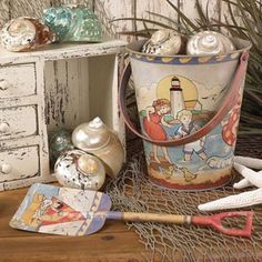 beach grass — Vintage Sand Pail with Shovel