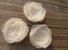 Chiffon Bridal Flowers Set of 3  with Pearl by BananaSueBoutique, $15.00
