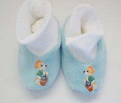 Vintage Soft Baby Booties Size L Light Blue Cuffed Style Made in Switzerland New In Box by MrsDinkerson on Etsy