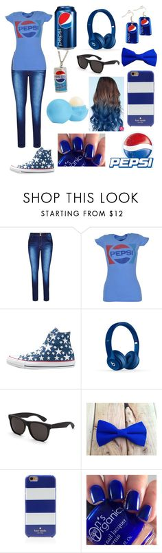 """""""Pepsi outfit"""" by gglloyd ❤ liked on Polyvore featuring City Chic, Converse, Beats by Dr. Dre, RetroSuperFuture, Kate Spade, Eos and plus size clothing"""